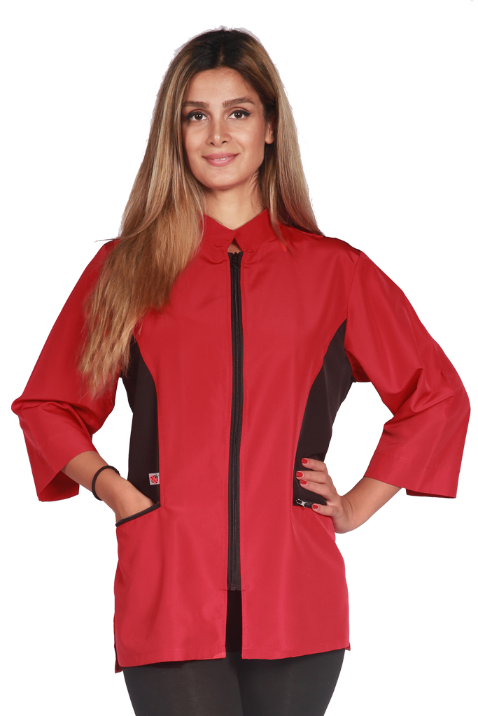 Color Block Stylist Jacket - Red