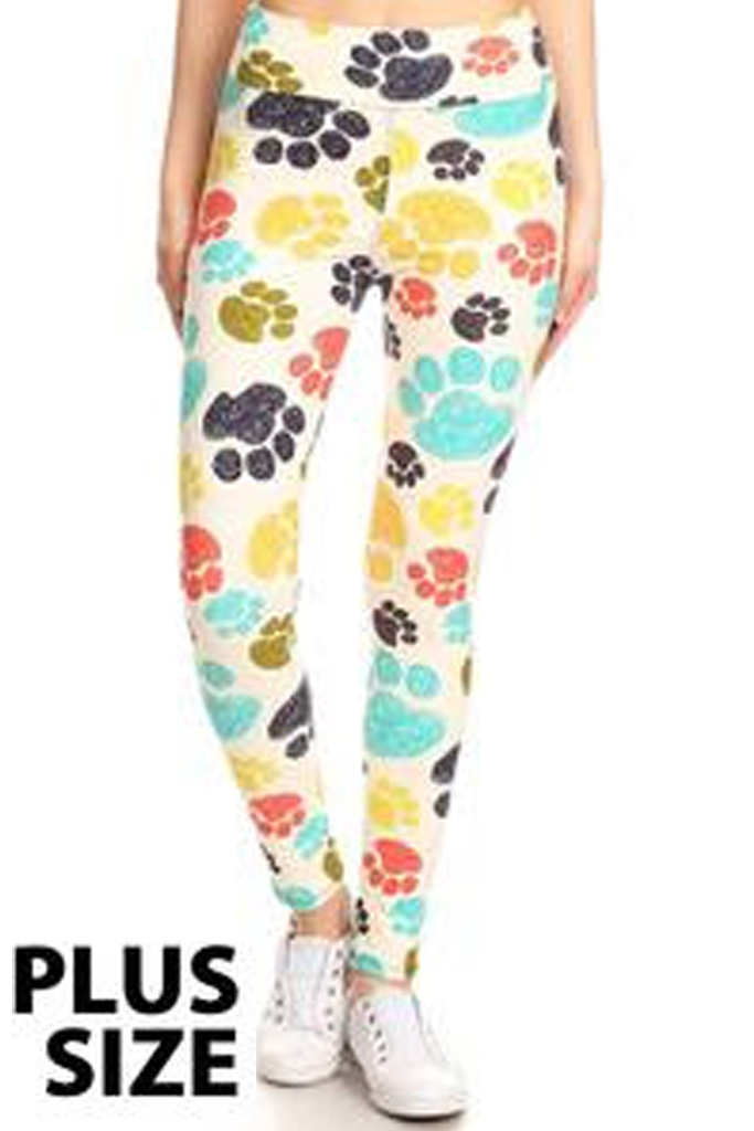 Multi color Paw Print Leggings - Plus Size