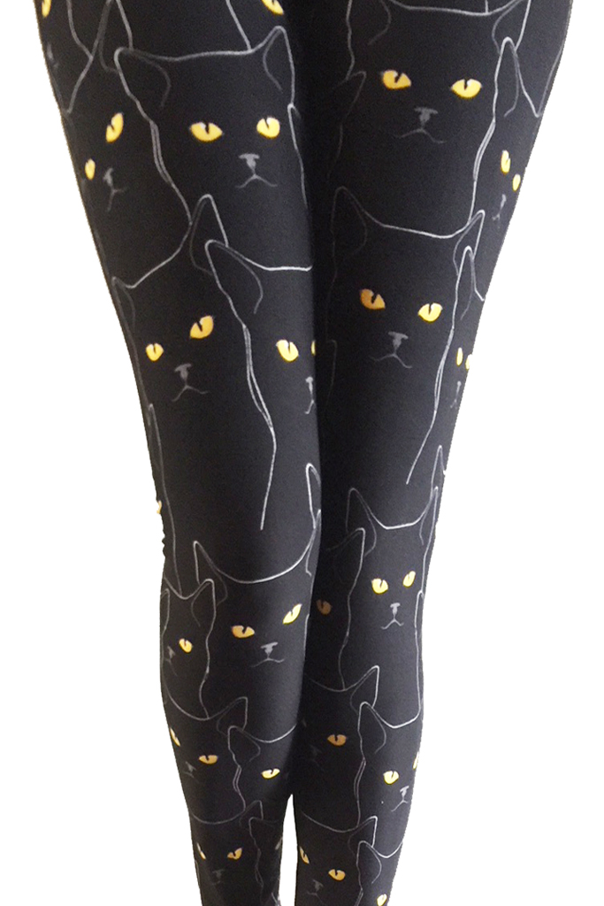 Black cats printed Leggings