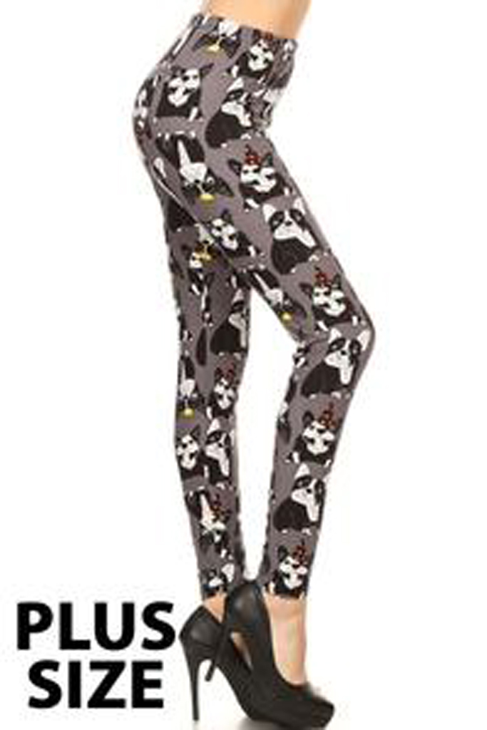 Bull Dogs Gray printed leggings- Plus size