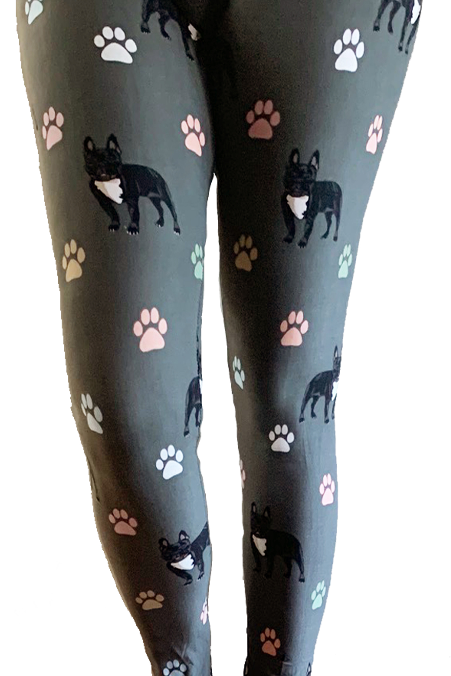 Gray Dogs & Paws print leggings