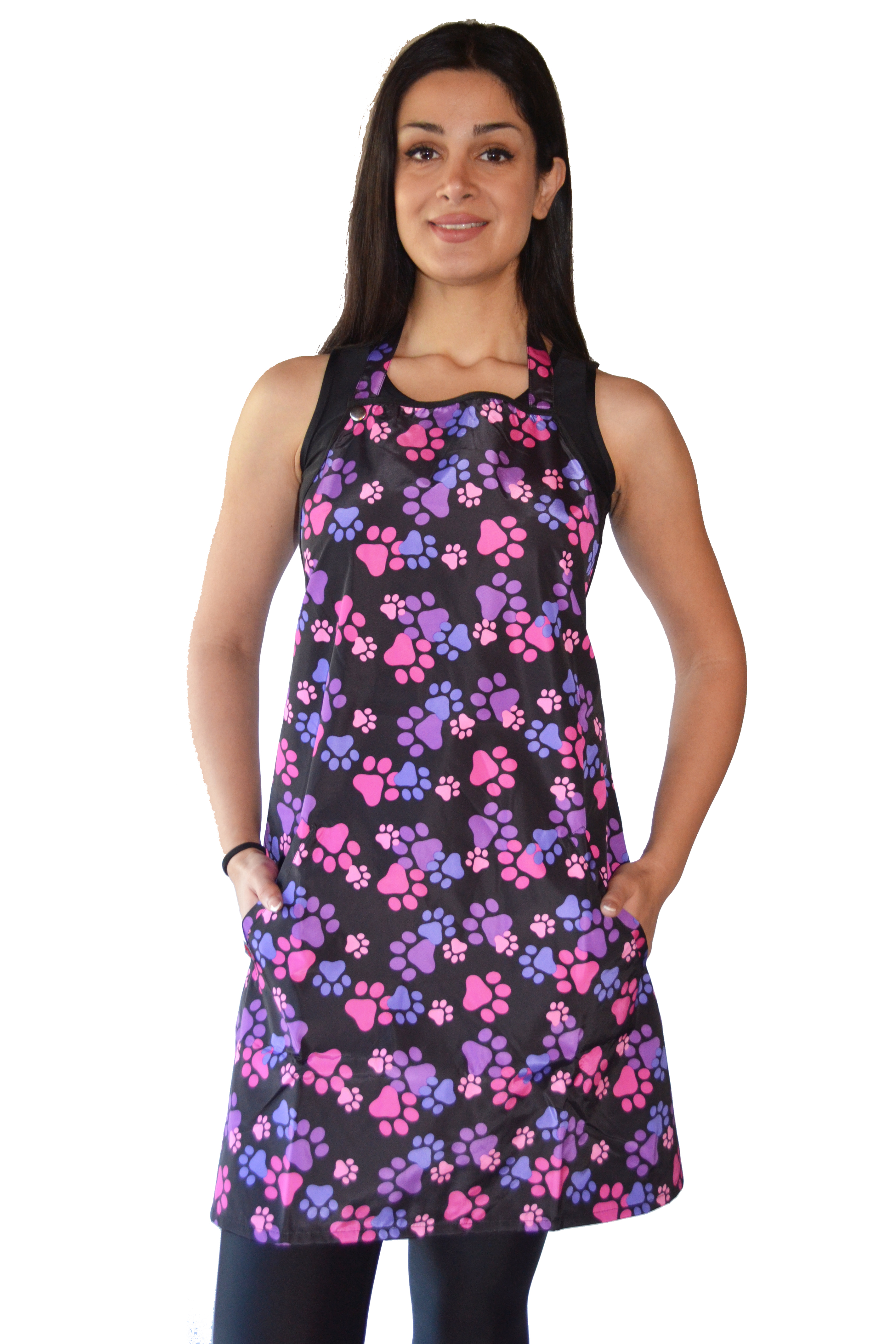 Pink and Purple Paw Print Waterproof Apron
