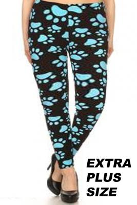 Blue Paw Print Leggings- EXTRA Plus size