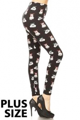 Frogs printed leggings- Plus size