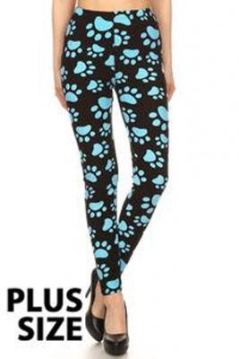 Blue Paw Print Leggings- Plus size